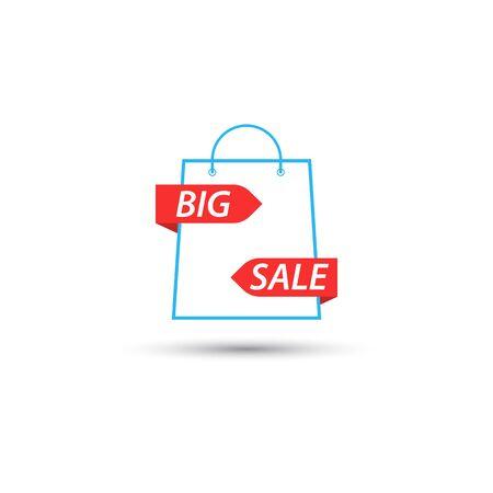 Shopping bag symbol is a big sale. Vector illustration . Illustration