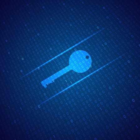 Digital key on a technological background. Vector illustration .