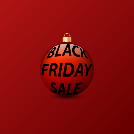 Christmas ball with an inscription black Friday sale on a red background. Vector illustration .