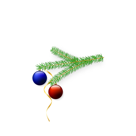 New Year tree branch with balls and serpentine. Vector illustration . Иллюстрация