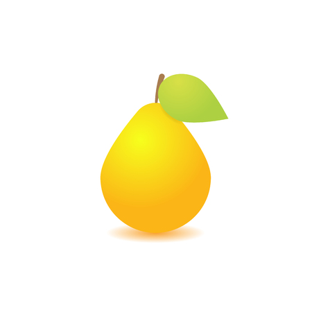 Pear with leaf on white background. Vector illustration