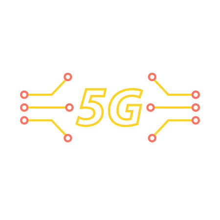 5G and the contacts of the motherboard on a white background. Vector illustration . Ilustração