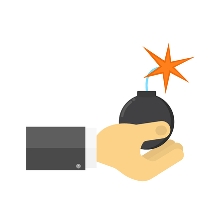 A man holds a bomb with a burning wick in his hands. Vector illustration . Illustration
