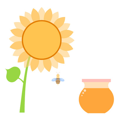 Honey in a can of bee and sunflower on a white background. Vector illustration . Illustration