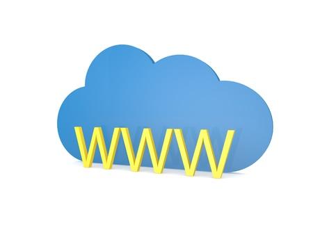 WWW cloud of internet connection symbol. 3d render illustration. Stock fotó