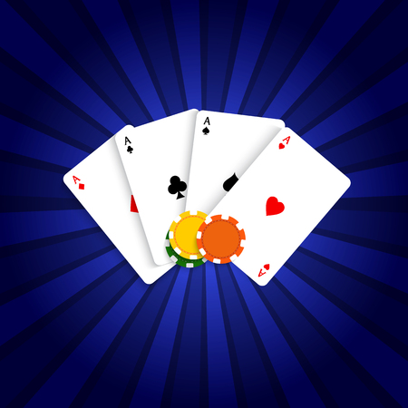 Playing cards and poker chips. Vector illustration .