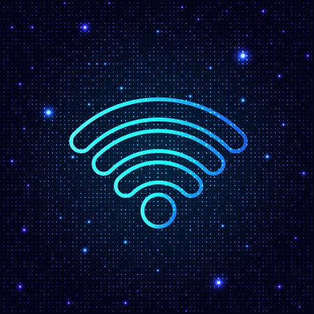 Sign wi-fi on a digital background. Vector illustration .