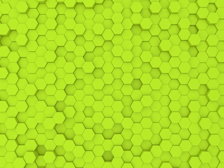 Green abstract background wall of hexagons. 3d rendering illustration. Stock Photo