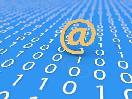Email sign on digital data background. 3d rendering illustration. Stock fotó