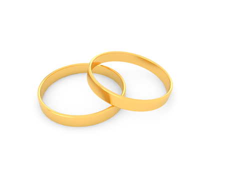 Gold wedding rings on a white background. 3d render illustration.