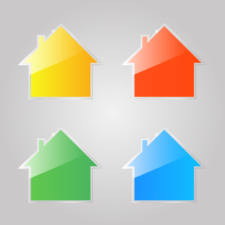 Colored shiny glass icons of private houses on a gray background. Vector illustration .