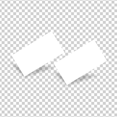 Two white business cards on a transparent background. Vector illustration .