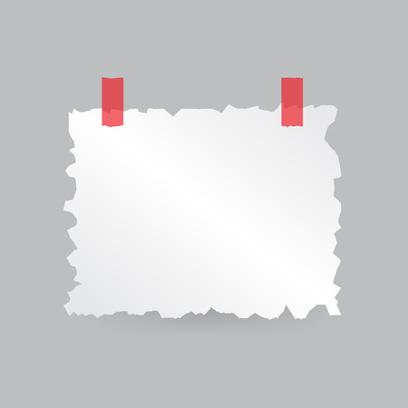 A piece of paper with torn edges is taped. Vector illustration .