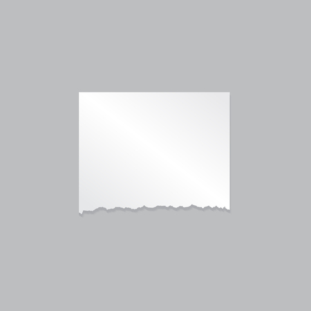 Blank design mockup of realistic piece of paper on gray background. Vector illustration .