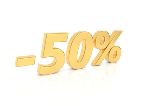 Discount - 50 percent gold numbers on a white background. 3d render illustration.