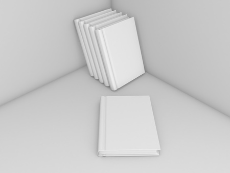 Blank book mockup template on gray background. 3d render illustration.