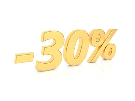 Discount -30 percent gold numbers on a white background. 3d render illustration.