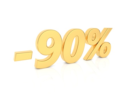 Discount - 90 percent gold numbers on a white background. 3d render illustration. Фото со стока