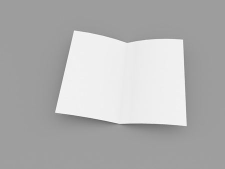 Blank white leaf layout brochure on gray background. 3d render illustration.