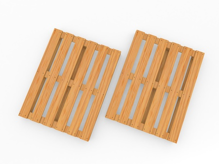Wooden pallets on white background. 3d render illustration. Фото со стока