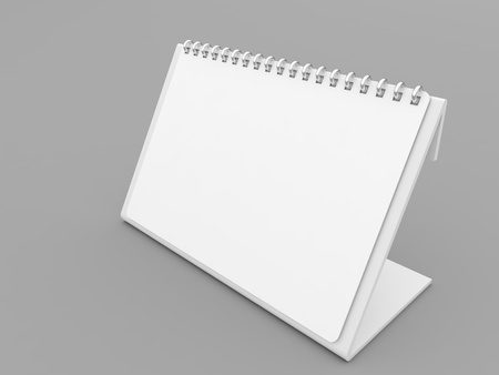 Calendar blank mockup on gray background. 3d render illustration.