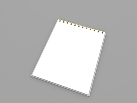 White notepad mockup on gray background. 3d render illustration.