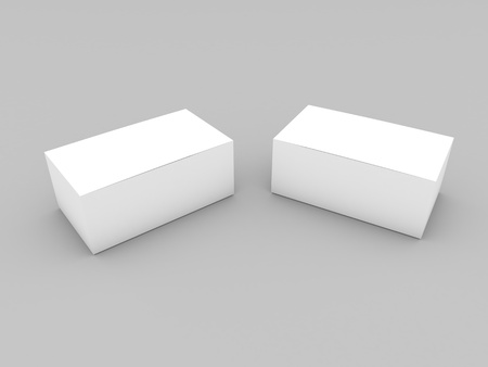 Layout of white cardboard boxes on a gray background. 3d render illustration.