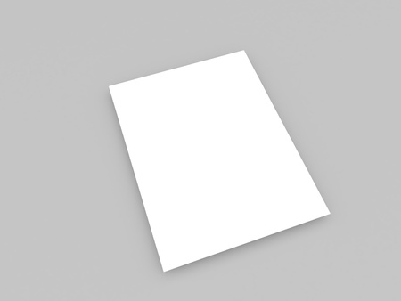 White piece of paper on a gray background. 3d render illustration.