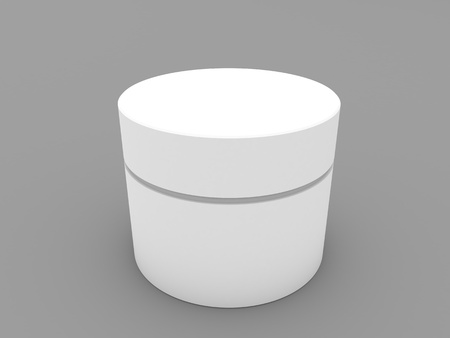 White empty round container on gray background. 3d render illustration. Фото со стока
