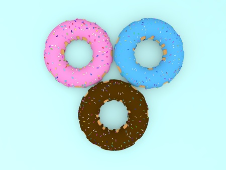 Three colored donuts on a blue background. 3d render illustration. Фото со стока