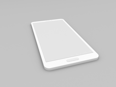 Smartphone mockup on gray background. 3d render illustration.