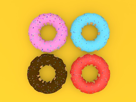 Delicious colorful donuts on a yellow background. 3d render illustration. Фото со стока
