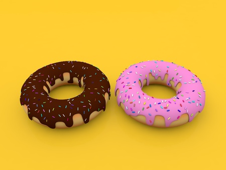 Delicious donuts on a yellow background. 3d render illustration. 写真素材