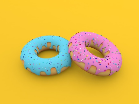 Colored donuts on a yellow background. 3d render illustration. Фото со стока