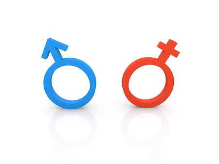 Female and male symbols on a white background. 3d render illustration. Фото со стока