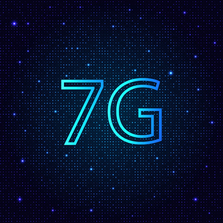 7G is a new generation of high-speed mobile Internet connection. Vector illustration . Иллюстрация