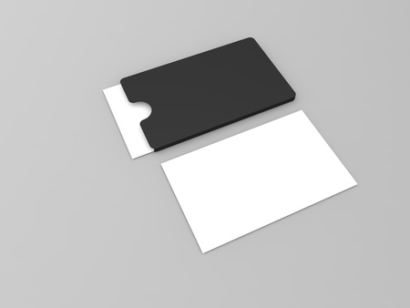 Business cards on gray background. 3d render illustration. Фото со стока