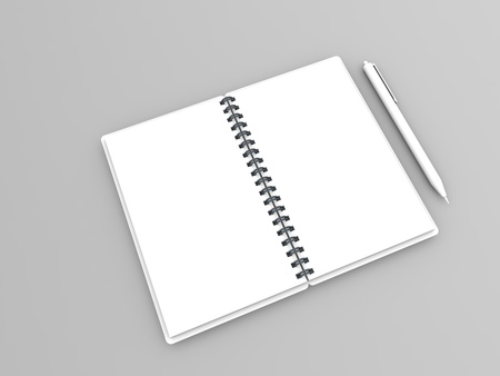 Blank white notebook and pen on gray background. 3d render illustration.