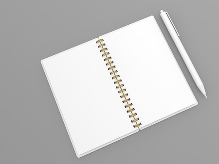 Blank notebook and pen mockup on gray background. 3d render illustration. Фото со стока