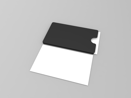 A stack of business cards on a gray background. 3d render illustration. Фото со стока