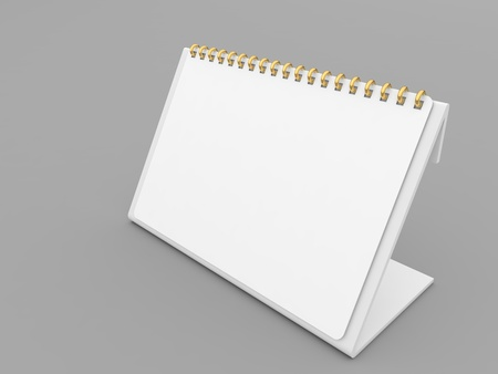 White spiral calendar mockup on gray background. 3d render illustration. 写真素材
