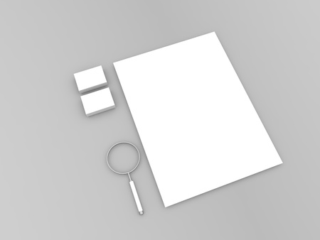Sheet of paper magnifying glass and business cards on a gray background. 3d render illustration.