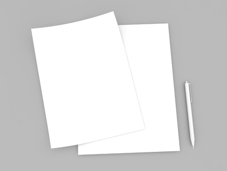 Empty sheets of white paper and pen mock up on gray background. 3d render illustration. Фото со стока