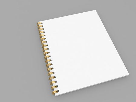 White spiral notepad mockup on gray background. 3d render illustration. Фото со стока