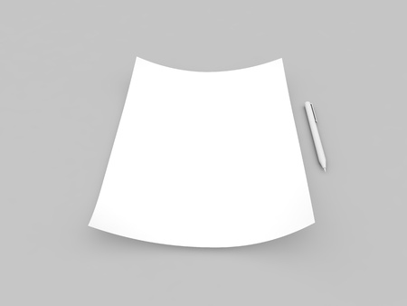 White paper sheet and pen mockup on gray background. 3d render illustration.