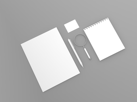 Stationery business mock up on gray background. 3d render illustration.