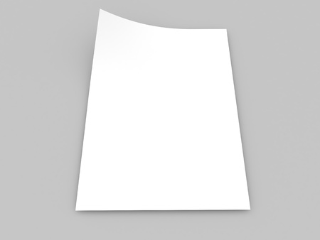 White realistic sheet of paper on a gray background. 3d render illustration.