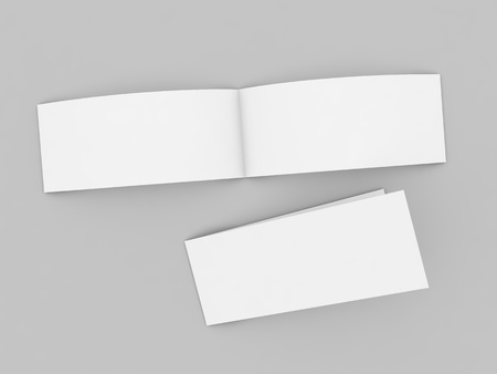 Open postcard mockup on gray background. 3d render illustration.