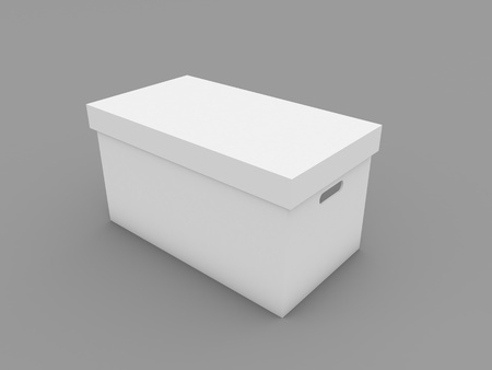 Box mockup on white background. 3d render illustration.