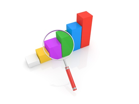 Graph of profit growth and a magnifying glass on a white background. 3d render illustration.